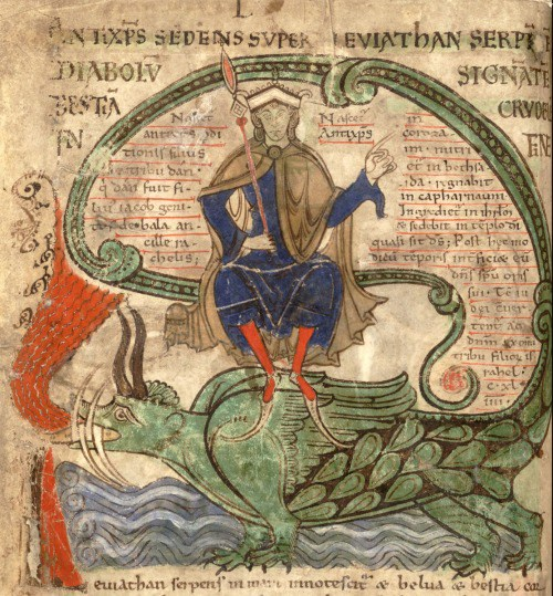 Antichrist seated on Leviathan, from the Liber Floridus (c. 1120)