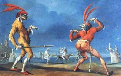 Masks of the Commedia DellArte: Capitan Babbeo e Cucuba (18th cen), Scala Archives, Carnevale Collection.