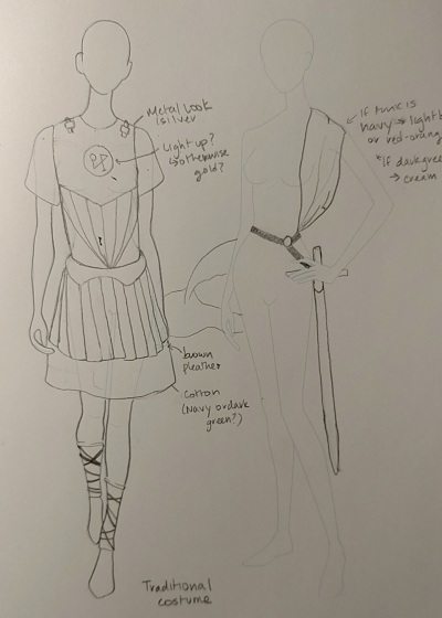 Initial costume design for Michael the Archangel