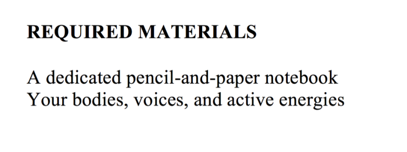 Required Materials, from the THEA/ENGL 4148 syllabus